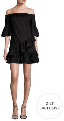 Poplin Off The Shoulder Ruffle Dress $98 thestylecure.com
