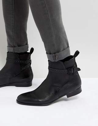 HUGO Cult Stud Leather Chelsea Boots in Black