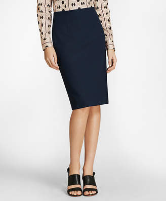 Brooks Brothers Mini-Check Wool BrooksCool Pencil Skirt