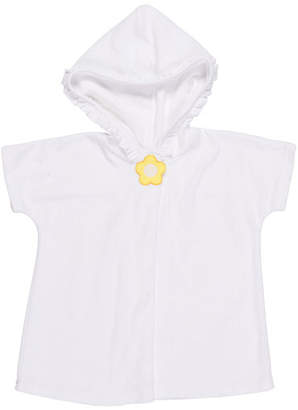 Florence Eiseman Knitted Terry Cloth Hooded Swim Coverup, White/Yellow, Size 2-6X