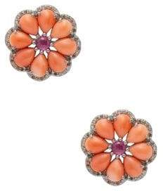 Silver & Multi-Stone Flower Stud Earrings