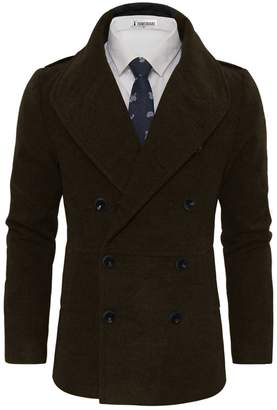Toms Tom's Ware Men's Stylish Large Lapel Double Breasted Pea Coat TWCC16