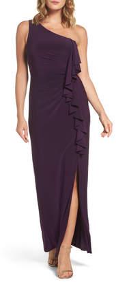 Eliza J Ruffle Front One-Shoulder Gown (Regular & Petite)