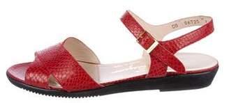 Salvatore Ferragamo Embossed Ankle Strap Sandals
