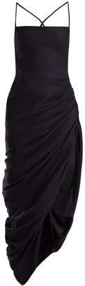 Square-neck backless draped wool dress