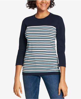 Tommy Hilfiger Striped Cotton Sweater, Created for Macy's