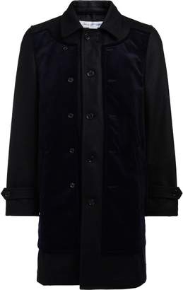 Comme des Garcons Black Wool And Blue Velvet Coat