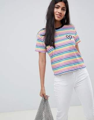 Asos Design DESIGN rainbow stripe t-shirt with heart embroidery
