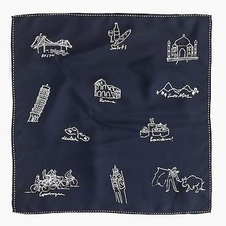 J.Crew Italian silk scarf in travel doodles