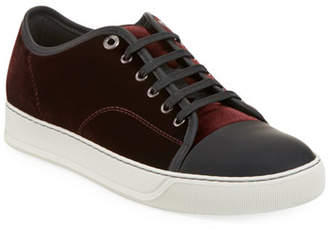 Lanvin Men's Velvet Cap-Toe Low-Top Sneakers