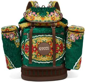 Gucci Floral Jacquard Velvet Drawstring Backpack - Mens - Green