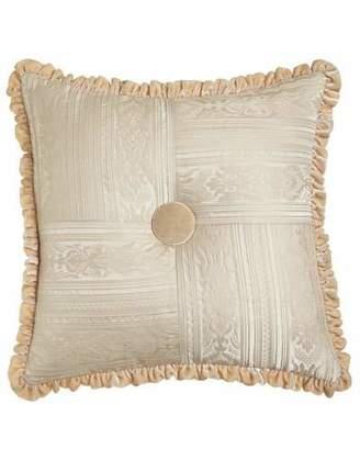 "Dian Austin Couture Home Le Creme Maison Pieced Pillow with Velvet Button & Ruffle, 20""Sq."