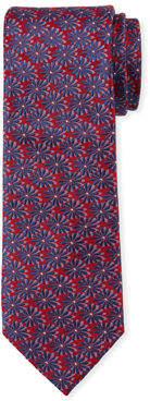 Neiman Marcus Flower Pattern Silk Tie