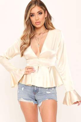 I SAW IT FIRST Ivory Button Front Plunge Satin Blouse