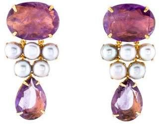 Bounkit Amethyst & Pearl Drop Earrings