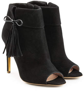 Rupert Sanderson Tinsel Suede Open Toe Ankle Boots