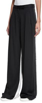 DKNY Pleated-Front Wide-Leg Combo Pants, Black $498 thestylecure.com