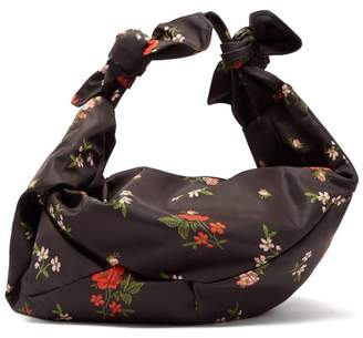 Simone Rocha Wrap Large Floral Print Shoulder Bag - Womens - Black Multi