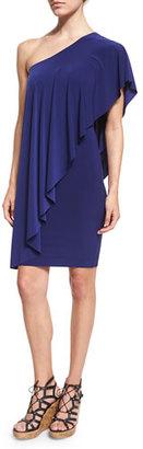 Norma Kamali Circle One-Shoulder Draped Dress, Blueberry $165 thestylecure.com
