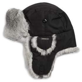 Crown Cap Rabbit Fur Accented Trapper Hat