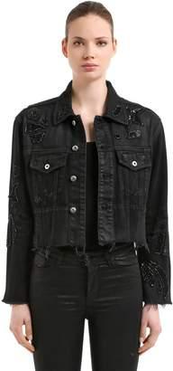 Embellished Cotton Denim Cropped Jacket
