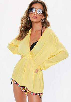 6051bfa12215 Missguided Yellow Cheesecloth Cover Up Playsuit, Multi