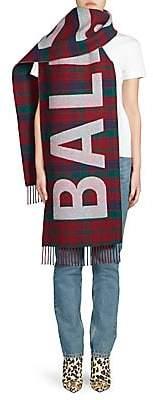 Balenciaga Women's Plaid Wool Logo Scarf