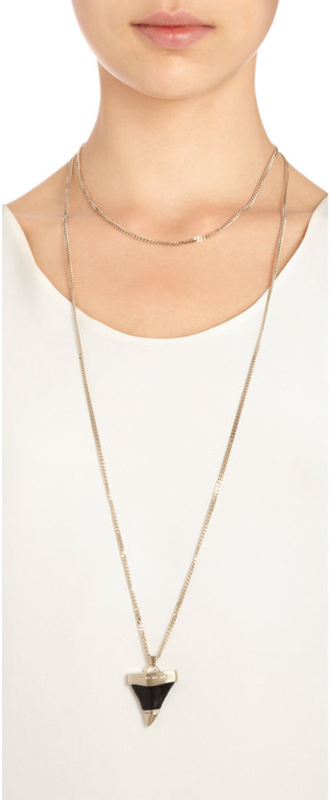 Givenchy Resin Shark Tooth Pendant Necklace