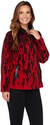 Bob Mackie Bob Mackie's Animal Printed Fleece Jacket w/ Faux Leather Detail