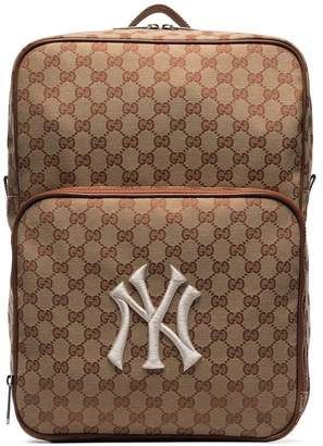 Gucci brown NY Yankees patch medium canvas backpack