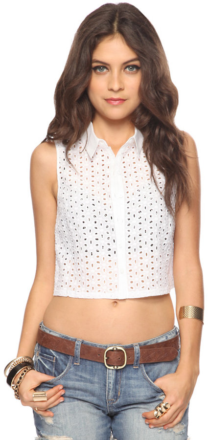 Forever 21 Eyelet Crop Button Up