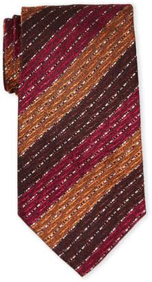 Missoni Brown and Red Stripe Silk Tie