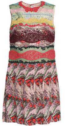 Valentino Lace-Paneled Printed Silk Crepe De Chine Mini Dress