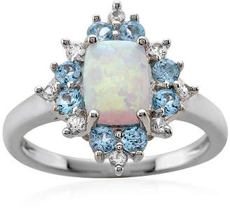 FINE JEWELRY Genuine Blue Topaz, Lab-Created Opal and White Sapphire Ring