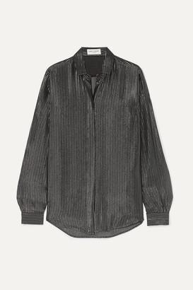 Saint Laurent Striped Metallic Fil Coupé Silk-blend Chiffon Shirt - Black