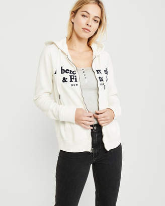 Abercrombie & Fitch Full-Zip Embroidered Logo Hoodie