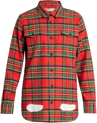 OFF-WHITE Tartan spray-paint cotton shirt $346 thestylecure.com