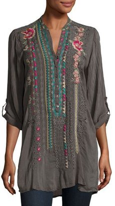 Johnny Was Joulette Rolled-Sleeve Embroidered Tunic, Plus Size $265 thestylecure.com