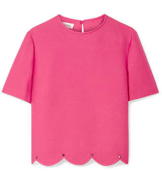 Valentino Studded Scalloped Wool And Silk-blend Crepe Top
