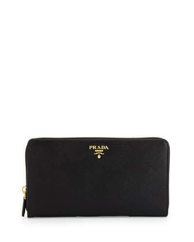 Prada Textured Leather Travel Wallet, Black (Nero)
