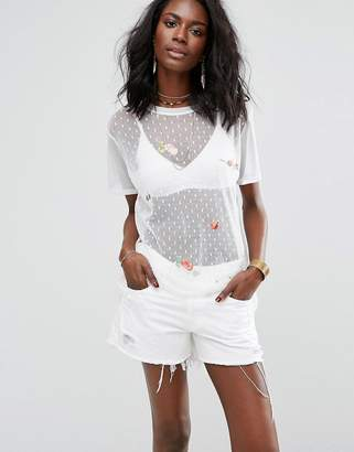 Boohoo Embroidered Dobby Mesh T-Shirt $35 thestylecure.com