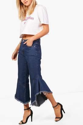 boohoo Katie High Waisted Ruffle Hem Jeans