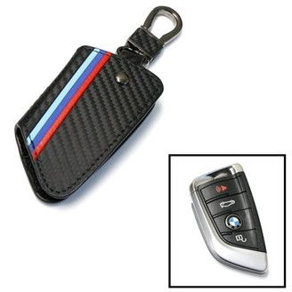 Ijdmtoy M-Colored Stripe Black Carbon Fiber Pattern Leather Key Holder with Keychain For 2016-up BMW X1, 2014-up BMW X5, 2015-up BMW X6, 2017-up BMW 5 Series & 2016-up BMW 7 Series Remote Fob