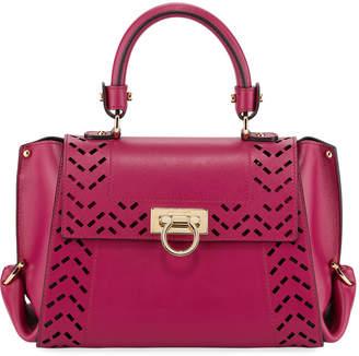 Salvatore Ferragamo Cutout Leather Top Handle Bag, Purple