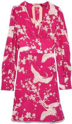 No.21 No. 21 Heron Print Silk Dress in Fuschia