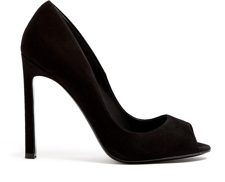 Kurt Geiger London Christie Black Suede Peep-toe Court Shoes
