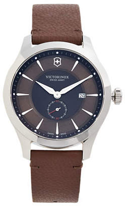 Victorinox Maverick Silvertone Stainless Steel and Leather Strap Watch