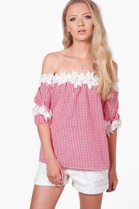 boohoo Willow Gingham Crochet Bardot Top $30 thestylecure.com