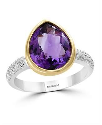 Bloomingdale's Amethyst & Diamond Teardrop Ring in 14K Yellow & White Gold - 100% Exclusive