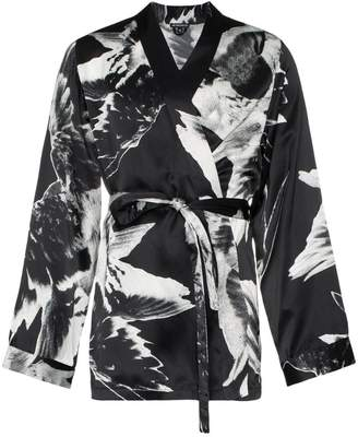 Ann Demeulemeester floral print belted silk kimono jacket